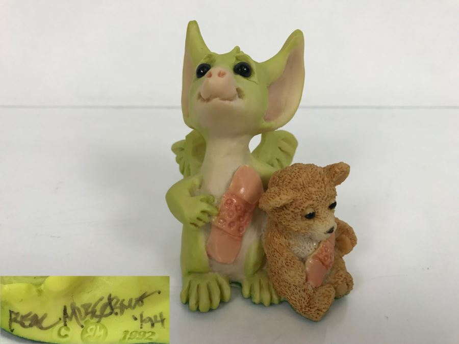 Hand Signed By Real Musgrave Pocket Dragon Figurine 1/94 - Whimsical World Of Pocket Dragons - We're Very Brave - 1992 Real Musgrave, CWS, LOL Limited - Hand Made in UK [Photo 1]