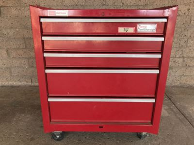 Vintage Red Sears CRAFTSMAN Rolling Toolbox Loaded With Tool Treasures Including Wood Planes, Vintage Hand Drills, Hand Files And Tons Of Hardware - SEE ALL PHOTOS