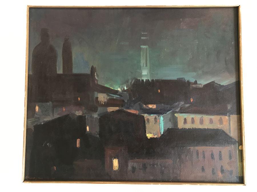Original Hannes Rosenow Mid-Century Oil Painting On Canvas German Painter 1925-2000 24' X 19' [Photo 1]