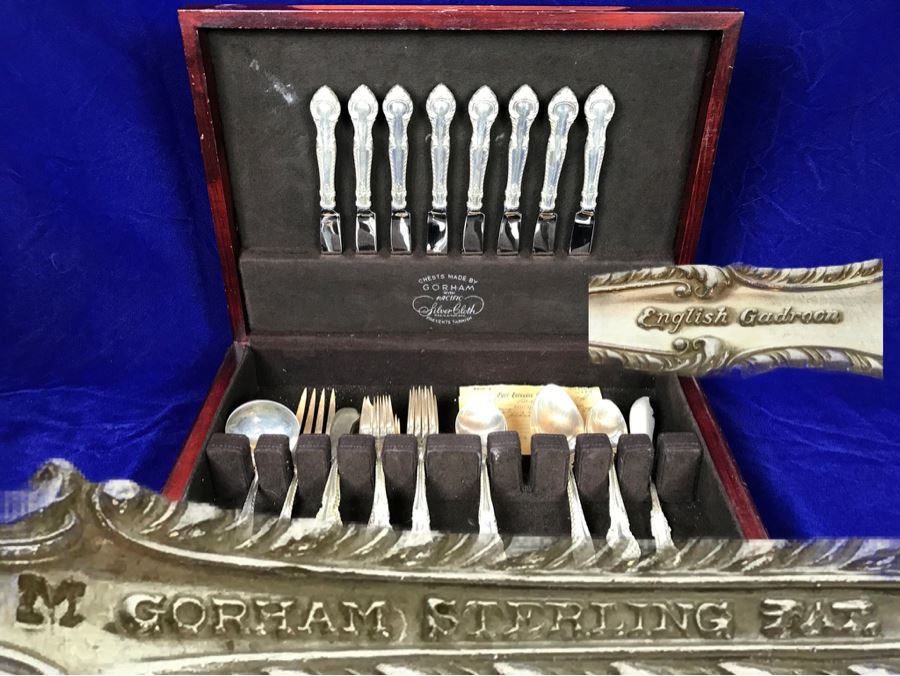 GORHAM English Gadroon Sterling Silver Flatware Set Apx Service For 8 With Gorham Silverware Chest - 1,735g Not Including Knives [Photo 1]