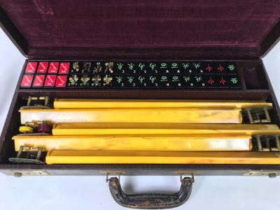 Vintage Mahjong Chinese Game Set With Carrying Case