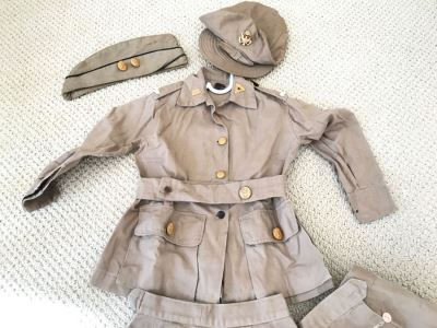 Vintage Girls ARMY Nurse WWII Uniform Hand Made In India Includes Jacket With Belt, (2) Hats, (2) Skirts And Extra Buttons