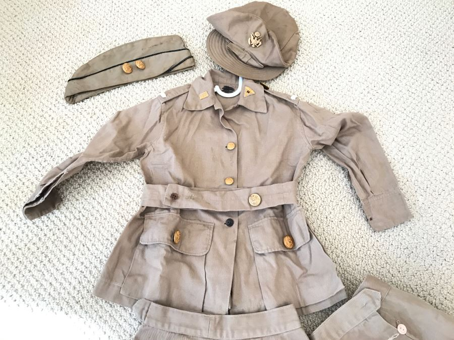 Vintage Girls ARMY Nurse WWII Uniform Hand Made In India Includes Jacket With Belt, (2) Hats, (2) Skirts And Extra Buttons [Photo 1]