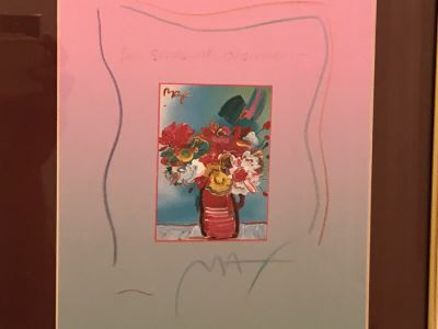 Framed Peter Max Still Life Print HAND SIGNED AND PERSONALIZED WITH FRAME BY PETER MAX 11' X 14'