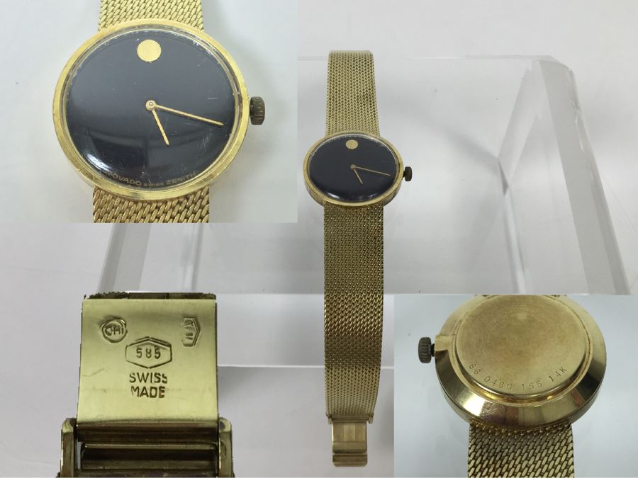 MOVADO ZENITH 14K Gold Watch With 14K Gold Watch Band Swiss [Photo 1]