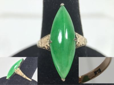 18K Yellow Gold JADE Ring Marquise Cut Cabochon Apx 4.5 Carat 13.5 X 8 X 4.8MM 3.3g