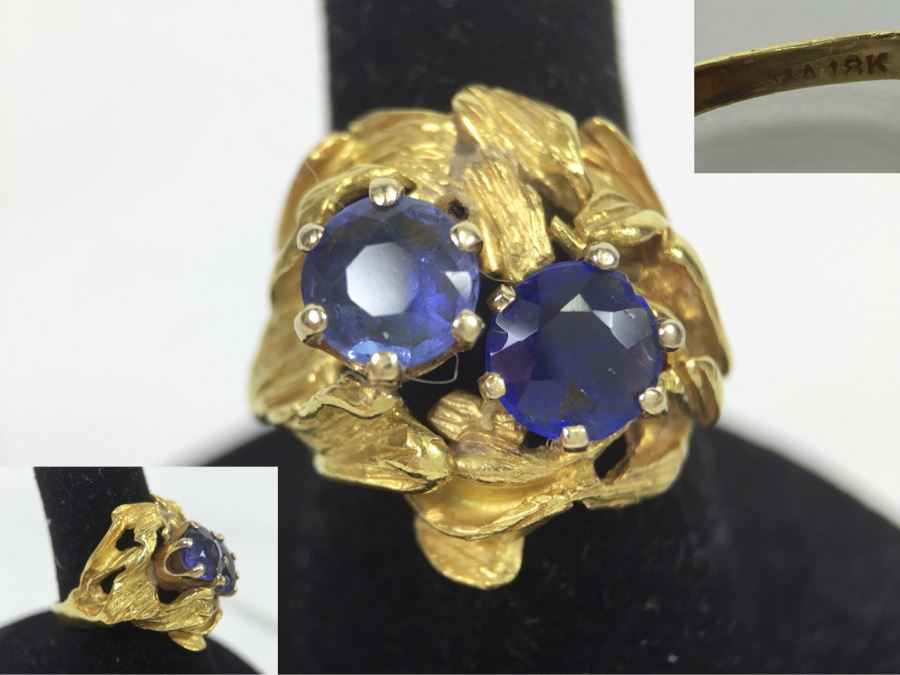 18K Yellow Gold Ring With (2) Round Blue Sapphires 6.2-6.3MM X 4.0MM Apx. 2.5 Carats Total Weight - Each Saphire Appraised At $1,000 Each But They Need Polishing - Must See In Person - Ring Size 6 9.3g [Photo 1]
