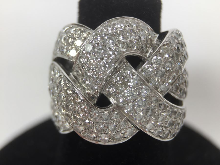 Stunning Platinum Diamond Ring PT900 Apx 2.00 Carat TW VS-2 To SI-1 G-H Appraised Fair Market Value $2,200 Ring Size 5.5 16g [Photo 1]