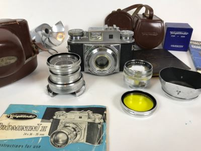 Voigtlander Prominent II Film Camera With Leather Case, Multiple Lenses, Filter, Flash, Hood And Original Manuals - See All Photos