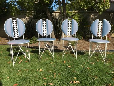 RARE Frank Lloyd Wright Midway Garden Chairs By Cassina Each Stamped With Frank Lloyd Wright And Numbered 34 1/2' X 16 1/2' X 19'