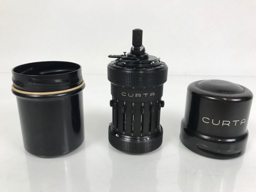 RARE CURTA Type I Mechanical Calculator With Metal Case And Manuals By Contina Ltd Mauren System Curt Herzstark Made In Liechtenstein Custom Union With Switzerland No. 40868 Very Good Condition Estimate $1,600 [Photo 1]