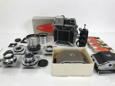 Spectacular LINHOF Super Technika IV Serial Number 81131 2 1/4 X 3 1/4 Film Size Large Format Field Camera With Six Lenses Manufactured By Schneider-Kreuznach Marked Linhof - See All Photos And Description