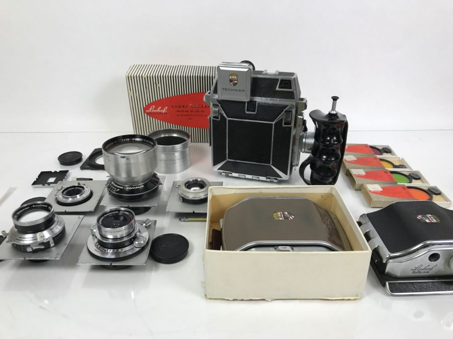 Spectacular LINHOF Super Technika IV Serial Number 81131 2 1/4 X 3 1/4 Film Size Large Format Field Camera With Six Lenses Manufactured By Schneider-Kreuznach Marked Linhof - See All Photos And Description [Photo 1]