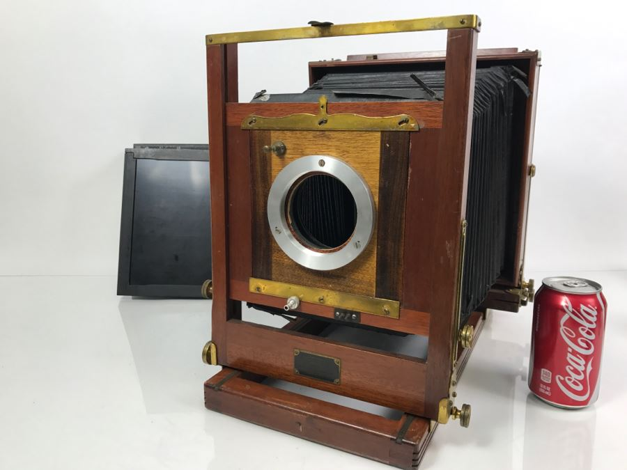 Vintage Eastman View No 2 Wood And Brass Bellows Camera