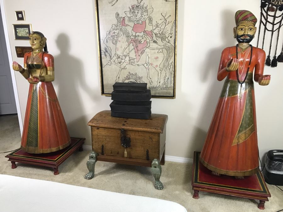 Stunning Life Sized Hand Painted Wood Carvings Of Indian Man And Woman Noble Wedding Couple On Custom Wooden Bases Purchased In London, England - See All Photos - Only Item With Reserve In This Sale [Photo 1]