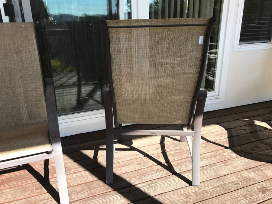 4 Woodard Belden Sling High Back Patio Dining Chairs