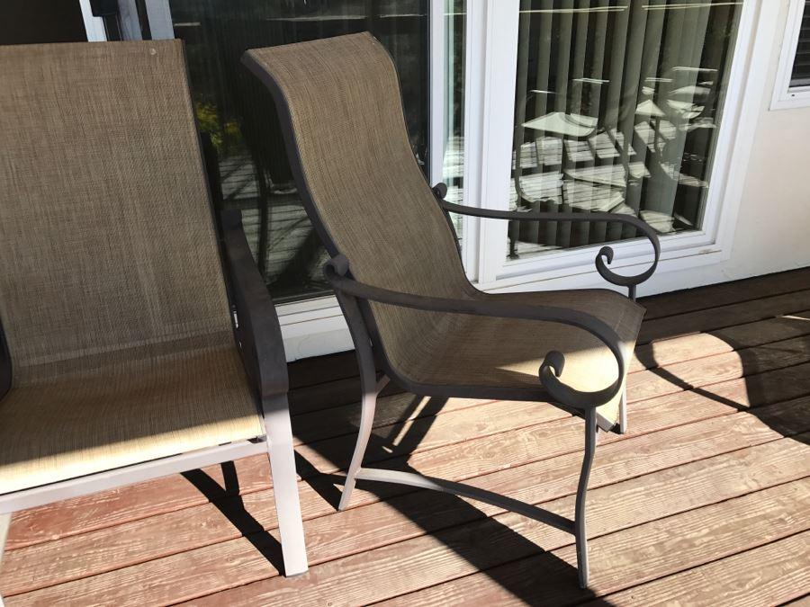 4 Woodard Belden Sling High Back Patio Dining Chairs