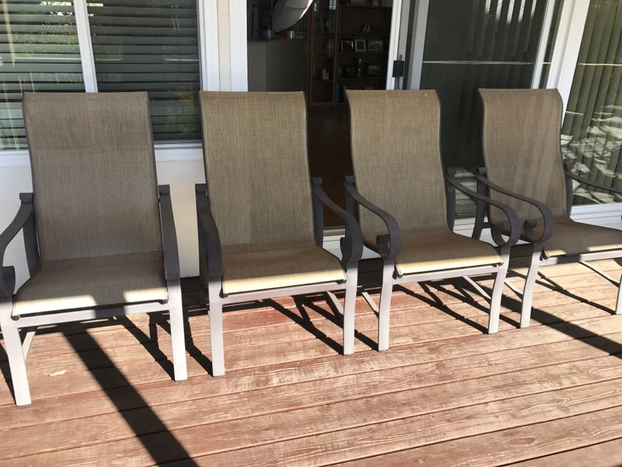 High Back Patio Furniture: (4) Woodard 'Belden' Sling High-Back Patio Dining Chairs