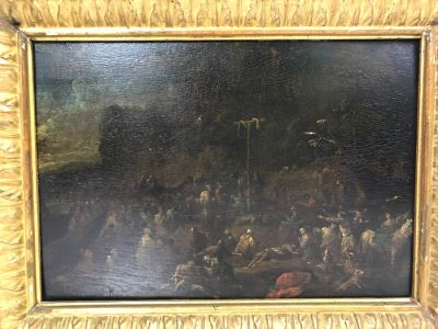 Pieter Bout (1658-1702) Original Oil Painting On Board Biblical Scene Of Moses With The Snake On The Pole