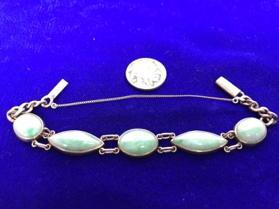 10k Yellow Gold (Tested Just Under 14k) Jade Bracelet Marquise And Oval Cabachon Cut 16.8g Fair Market Value $650