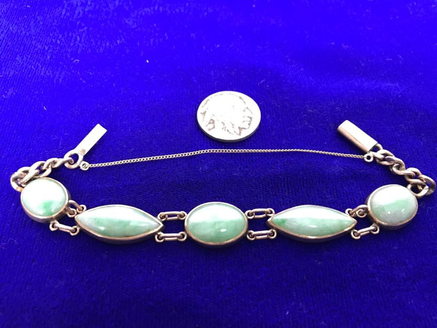 10k Yellow Gold (Tested Just Under 14k) Jade Bracelet Marquise And Oval Cabachon Cut 16.8g Fair Market Value $650 [Photo 1]