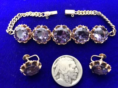 14k Yellow Gold Bracelet With Matching Earrings Synthetic Alexandrite 29.8g Fair Market Value $850
