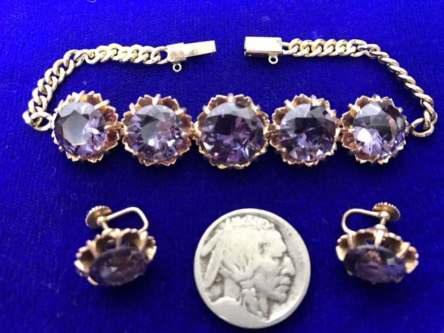 14k Yellow Gold Bracelet With Matching Earrings Synthetic Alexandrite 29.8g Fair Market Value $850 [Photo 1]