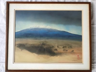 Luis Nishizawa (1918-2014) Original Watercolor Ink On Paper Hand Signed And Marked On Paper And On Back Of Board 'Xinantecatl (Nevado)' Nevado De Toluca Mountain In Central Mexico Plein Air Painting