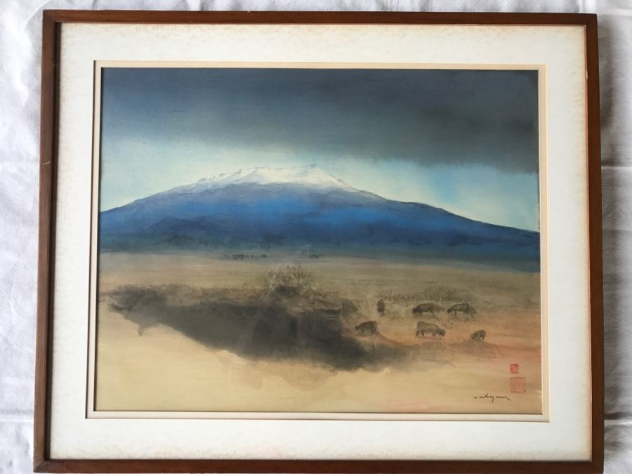 Luis Nishizawa (1918-2014) Original Watercolor Ink On Paper Hand Signed And Marked On Paper And On Back Of Board 'Xinantecatl (Nevado)' Nevado De Toluca Mountain In Central Mexico Plein Air Painting [Photo 1]