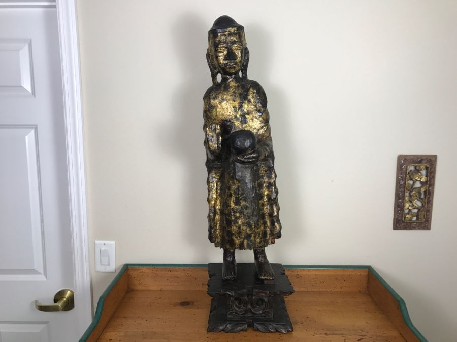 Antique Gilded Carved Wooden Sculpture Statue Of Begging Buddha From Thailand Purchased In Hong Kong In Seventies From Gerald Godfrey And Charlotte Horstmann [Photo 1]