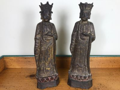 Antique Chinese Gilt Metal Funerary Statues 1'5'H