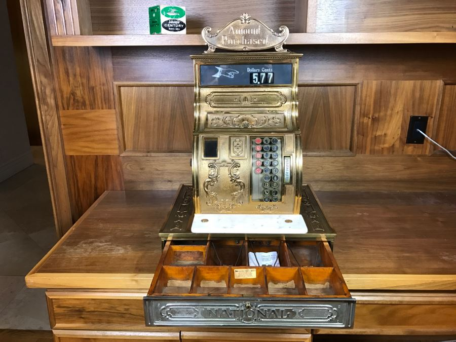 Antique Brass National Cash Register Candy Store Working Professionally Restored Model 1030 SN 995584 With Amount Purchased Top Sign Estimate $600-$900 [Photo 1]