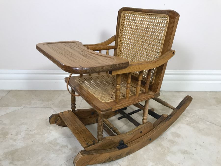 Antique Childu0027s Cane Rocking Chair With Food Tray [Photo ...