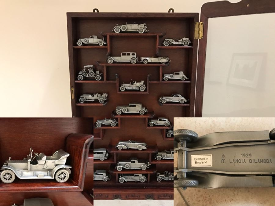 Huge Collection Of (21) Danbury Mint Pewter Classic Cars Of The World In An Asian Rosewood Hanging Display Box With Glass Front