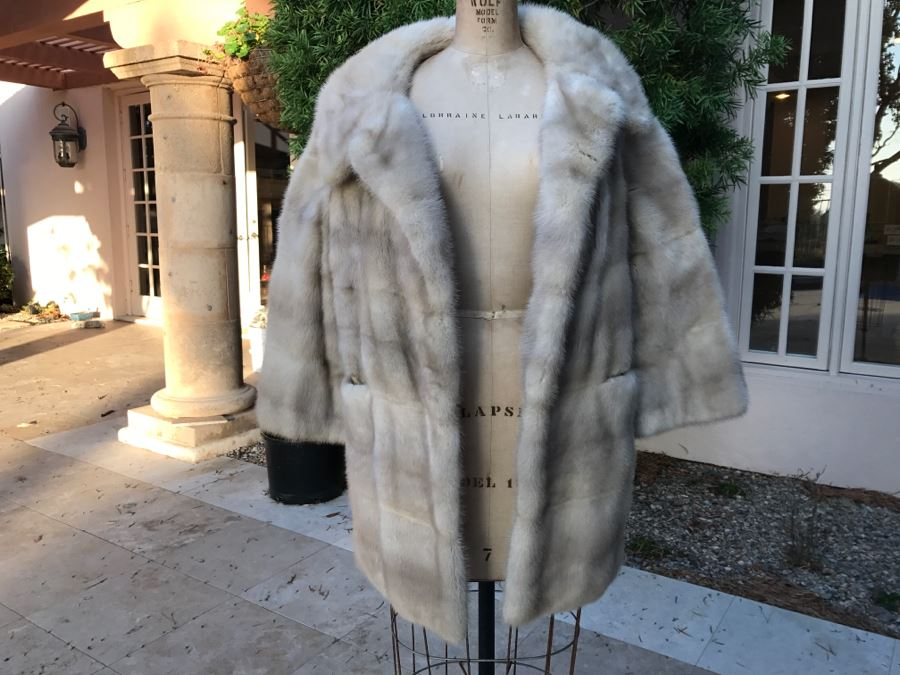 Morning Light Rare Quality EMBA Natural Pale Blue Beige Mink Fur Coat