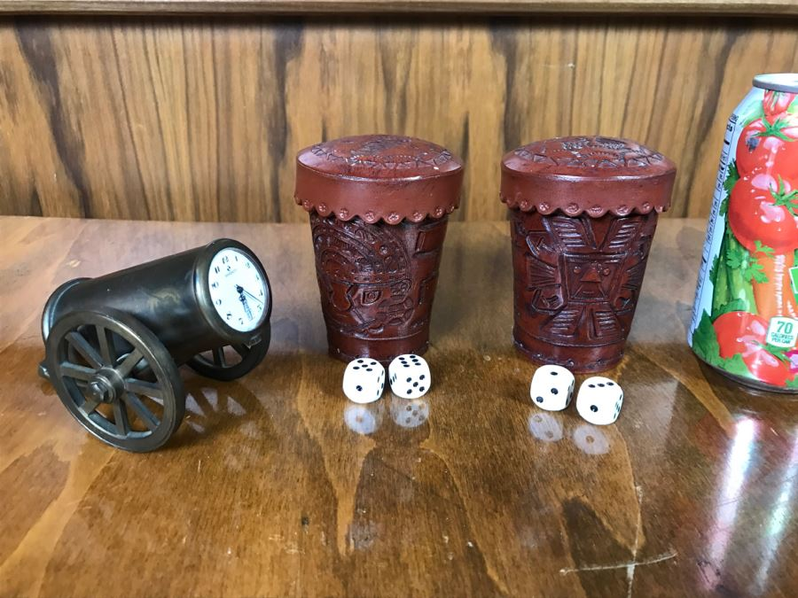 Pair Of Leather PERU Dice Cups And Sindaco Brass Cannon Swiss Made Clock [Photo 1]