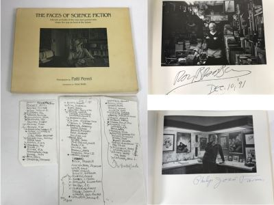 Signed First Bluejay Printing 1984 Book The Faces Of Science Fiction Photographs By Patti Perret (Signed By 34 Science Fiction Writers Including Ray Bradbury, Frederik Pohl, Poul Anderson, L. Sprague De Camp, Andre Norton, A.E. Van Vogt) See Description