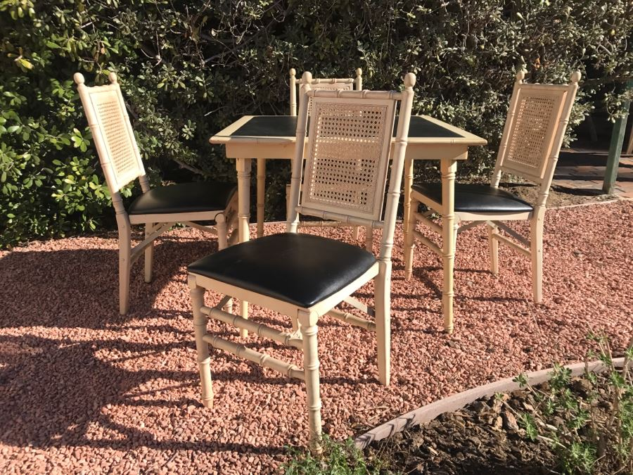 JUST ADDED - Vintage Hollywood Regency Stackmore Wood And Cane Card Table With Folding Chairs Bamboo Motif
