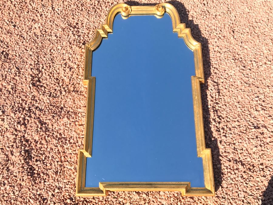 JUST ADDED - Stylish Mid-Century Gilded Hanging Wall Mirror By LaBarge