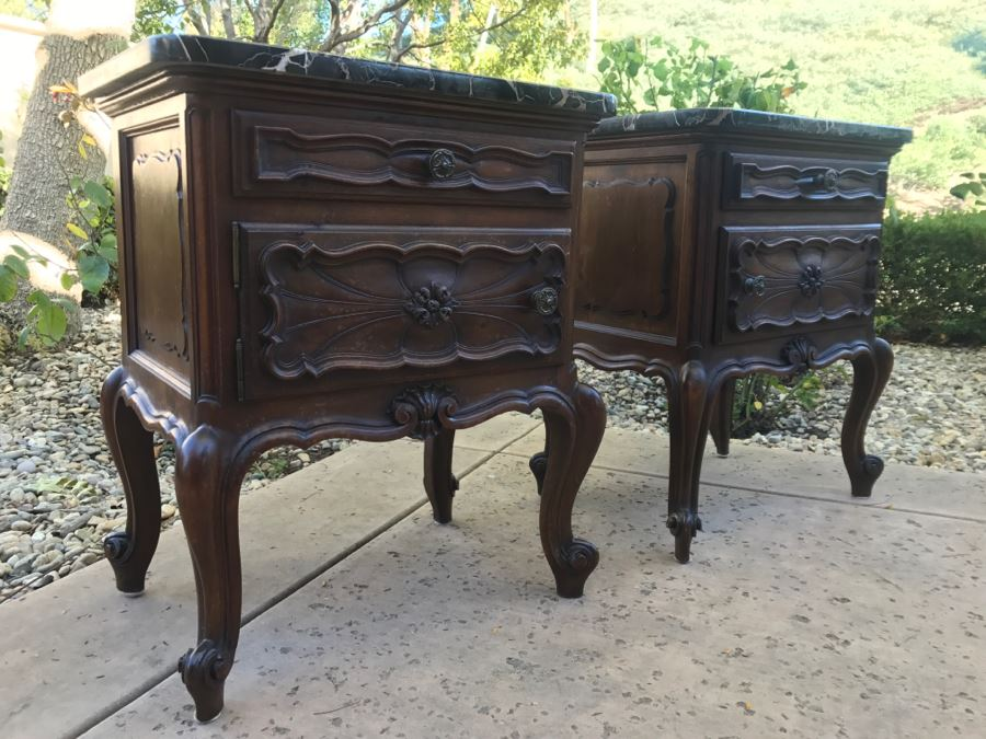 JUST ADDED - STUNNING Pair Of Antique 19th Century Piedmont Baroque Style Nightstands With Distinctive Carved Piedmont Designs And Black Marble Tops (Note One Marble Top Has Several Chips As Shown In Photos)