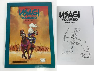 Signed First Fantagraphics Books Edition 1987 USAGI YOJIMBO Book One By Stan Sakai Signed With Hand Illustration