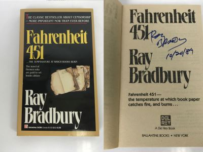 Signed Paperback Book Fahrenheit 451 By Ray Bradbury