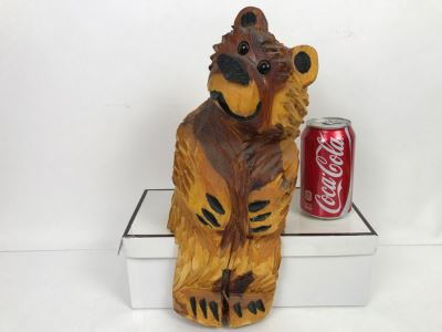 Signed Hand Carved Sitting Bear By Barry Martin Ruidoso, NM