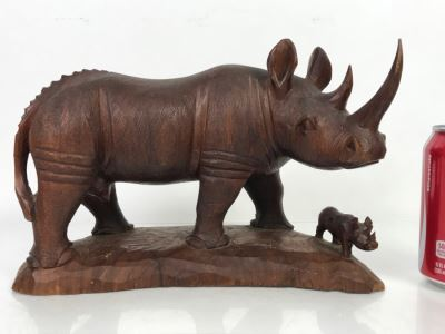 Stunning Large Well Executed Wooden Carving Of Rhinoceros With Cub Hand Carved In Kenya Africa Must See In Person See All Photos