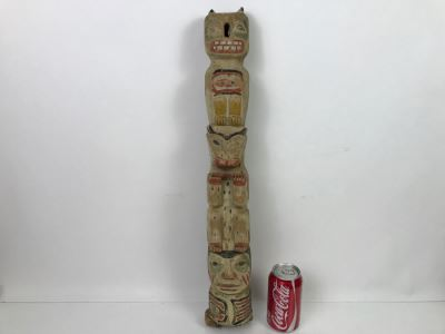 Old Carved Wooden Hand Painted Totem Pole Appears To Be From Pacific Northwest