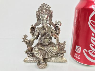 Vintage Silver Indian Deity Sculpture Ganesha Made In Nepal