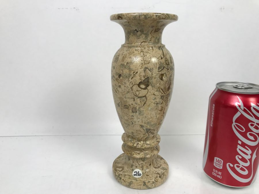 Turned Natural Fossil Stone Vase Fossilstone