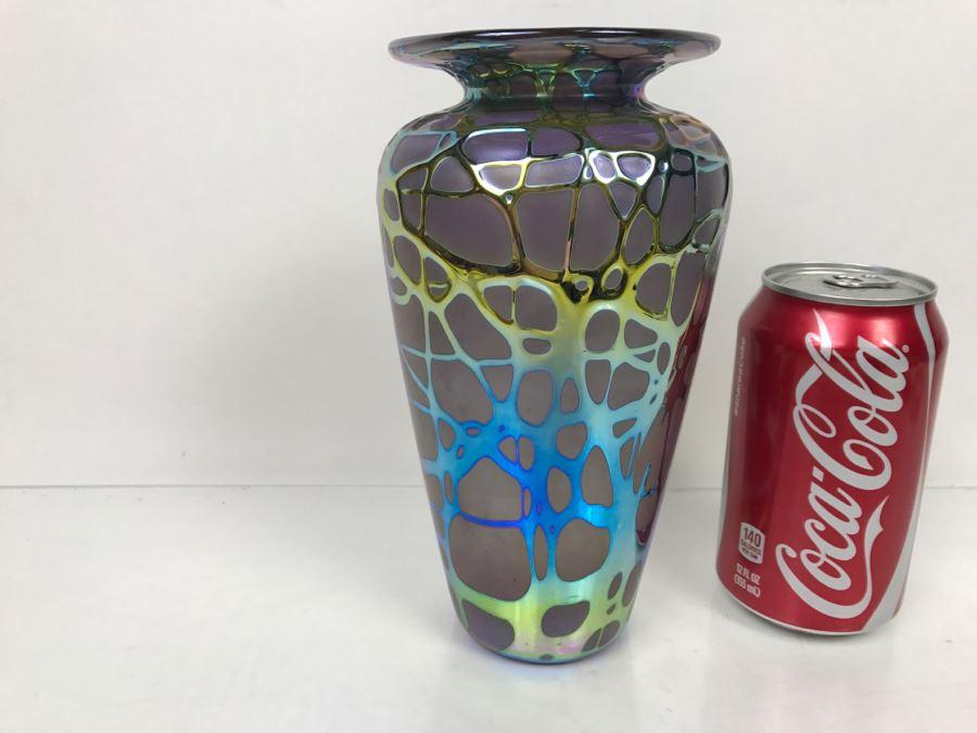 Stunning Stuart Abelman Art Glass Vase Vintage 1994 [Photo 1]