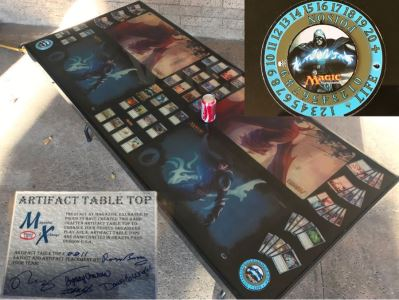 RARE Magic The Gathering Artifact Table Top Hand Made Limited Edition By Magazine Exchange Signed With Certificate On Underneath Of Table Table # 0011 Estimate $3,000