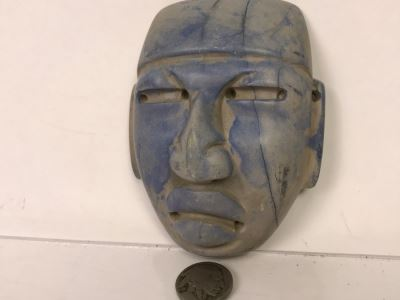 Smooth Carved Stone Face Artifact Of Unknown Origin 254g